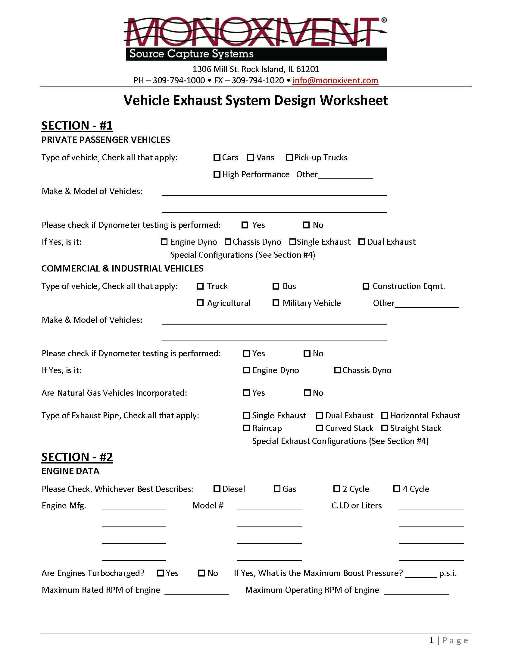 Vehicle Exhaust System Design Worksheet